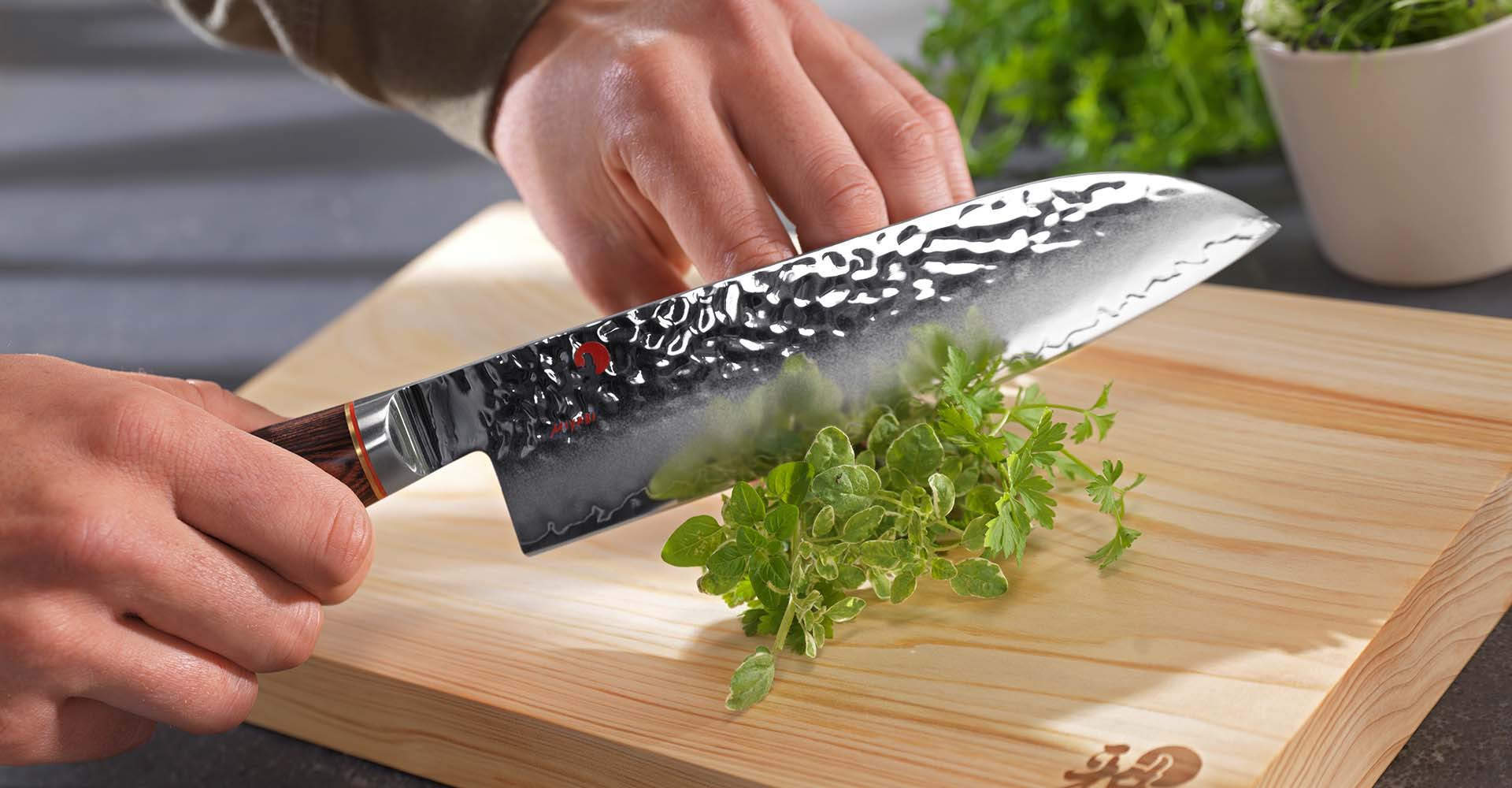 Nóż Santoku Lewa Ręka Szefa Kuchni Prestiżowa Kuchnia